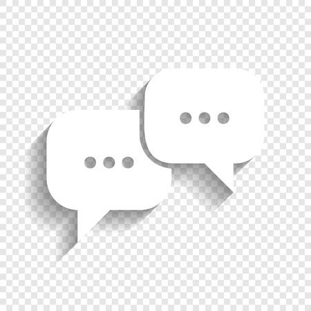 Ilustración de Speech bubbles sign. Vector. White icon with soft shadow on transparent background. - Imagen libre de derechos
