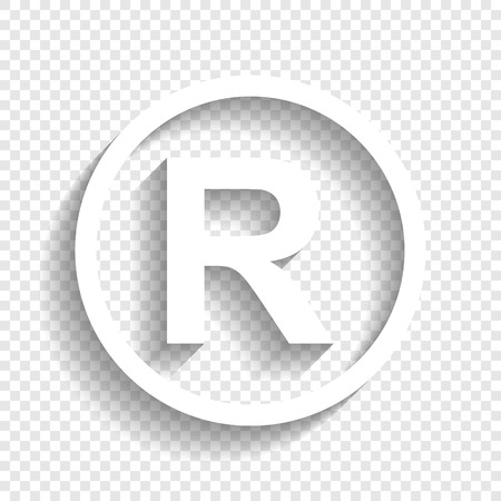 Illustration pour Registered Trademark sign. Vector. White icon with soft shadow on transparent background. - image libre de droit