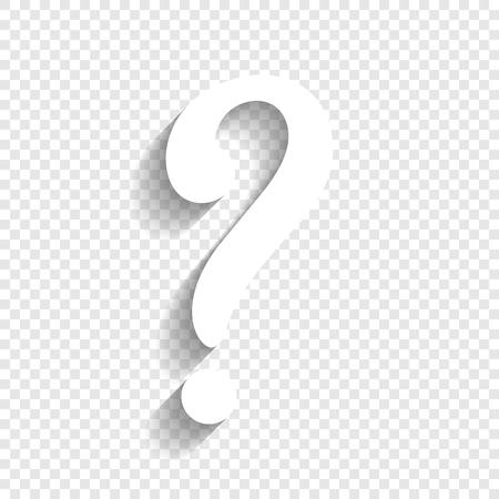 Illustration pour Question mark sign. Vector. White icon with soft shadow on transparent background. - image libre de droit