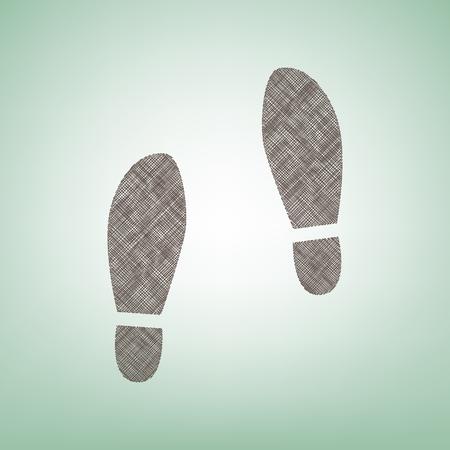 Ilustración de Imprint soles shoes sign. Vector. Brown flax icon on green background with light spot at the center. - Imagen libre de derechos
