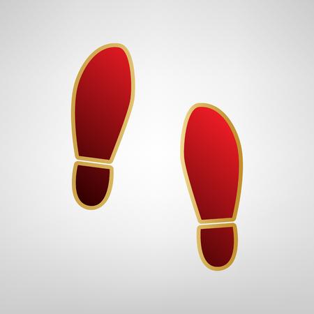 Ilustración de Imprint soles shoes sign. Vector. Red icon on gold sticker at light gray background. - Imagen libre de derechos