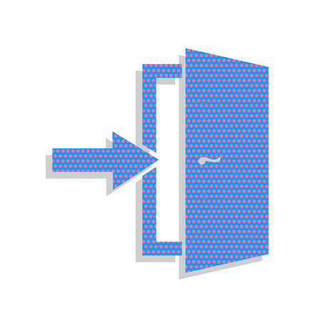 Illustration for Door Exit sign. Neon blue icon with cyclamen polka dots. - Royalty Free Image