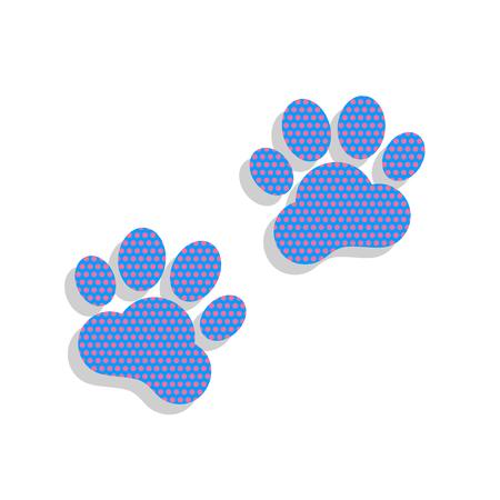 Ilustración de Animal Tracks sign. Vector. Neon blue icon with cyclamen polka d - Imagen libre de derechos