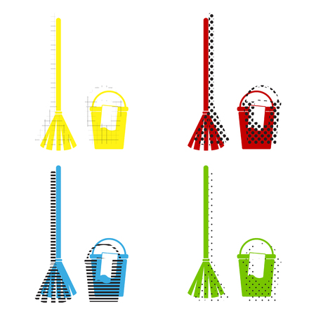 Illustration pour Broom and bucket sign. Vector. Yellow, red, blue, green icons with their black texture at white background. - image libre de droit
