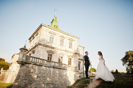 Photo pour Fabulous wedding couple posing in front of an old medieval castle in the countryside on a sunny day. - image libre de droit