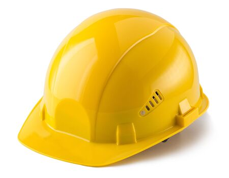 Foto de Yellow safety helmet isolated on white background - Imagen libre de derechos