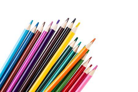Photo pour Color pencils isolated on white background - image libre de droit