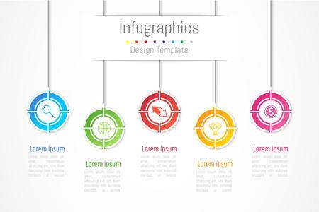 Ilustración de Infographic design elements for your business data with 5 options, parts, steps, timelines or processes. Vector Illustration. - Imagen libre de derechos