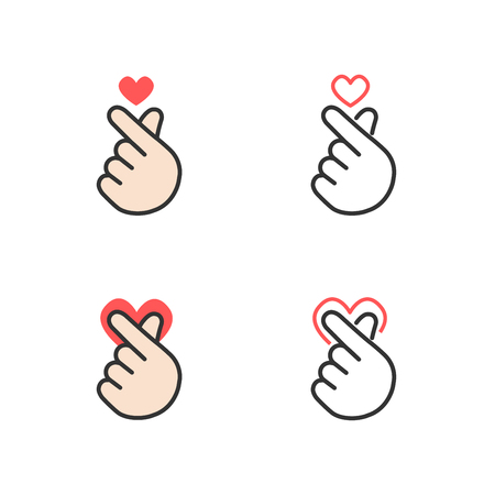 Illustration pour Icon of hand making small heart, I love you or mini heart sign isolated on white background, vector illustration - image libre de droit