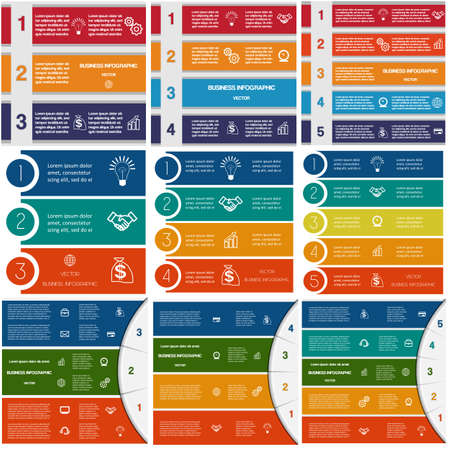 Illustration pour 9 templates, Infographics cyclic processes, Business concept,  colorful strips on three, four, five options possible to use for work flow, banner, diagram, web design, time line, area - image libre de droit