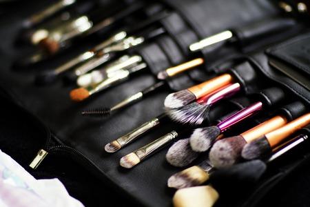 Shot of Make-up brushes at a wedding