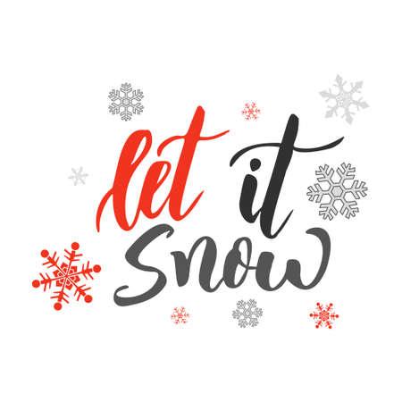 Illustration for Let it snow. Handwriting script lettering for greeting card. Vector design for logo, emblem, banner. - Royalty Free Image