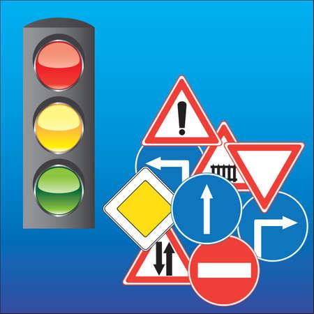 Illustration pour Road signs and traffic lights - image libre de droit