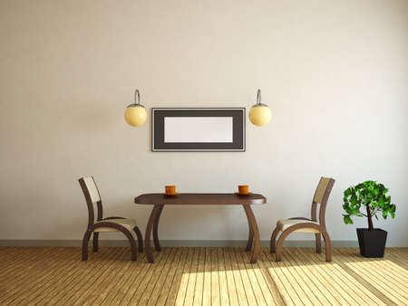 Table and two chairs near a wall