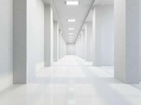 Foto de The empty long corridor with large columns - Imagen libre de derechos