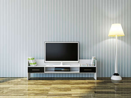 Foto de White TV and a shelf near the wall - Imagen libre de derechos