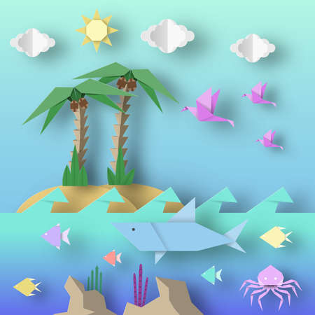 Illustration for Origami Style Crafted out of Paper with Cut Shark, Palm, Birds, Fish, Sun, Clouds. Abstract Scene Underwater Life. Template Under the Water Cutout Elements, Symbols. Vector Illustrations Art Design. - Royalty Free Image