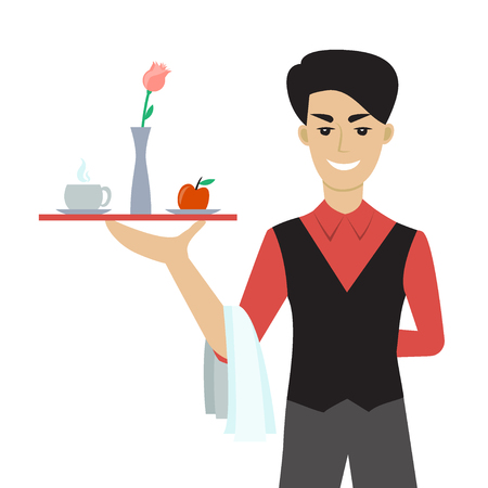Illustration pour Vector illustration of young caucasian man - a waiter or a steward - holding a tray with cup of cofffee or tea, flower and an apple. Flat  cartoon character. Breakfast in the bed. - image libre de droit