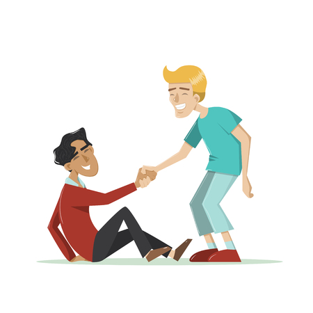 Illustration for Young smiling guy helps another man to get up after a fall. Vector illustration in cartoon style. Isolated on white. Concept for friendship, helping hand, assisting, togetherness, support. - Royalty Free Image