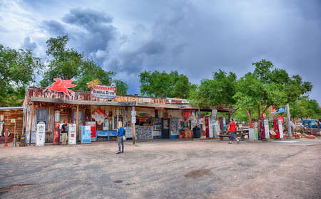 Photo for Hackberry, Arizona, Usa - July 24, 2017: The famous historic route 66 highway with the old general store is visited by people from all of the world. - Royalty Free Image