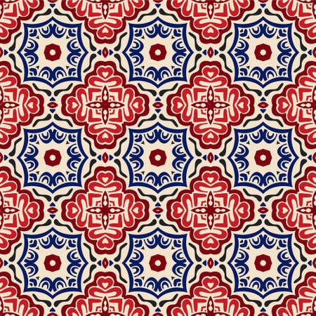 Illustration for geometric Decorative tile pattern design vector. Vintage backgroundsclassic ornament fill - Royalty Free Image