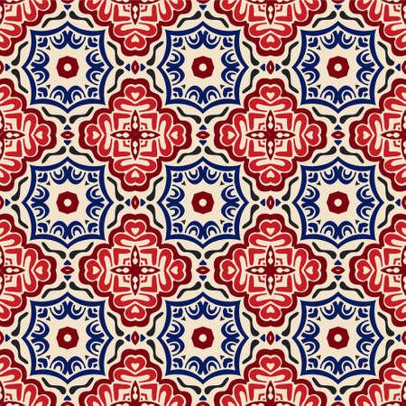 Illustration pour geometric Decorative tile pattern design vector. Vintage backgroundsclassic ornament fill - image libre de droit