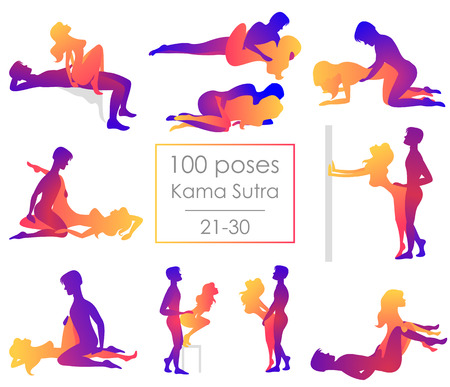 Illustrazione per Set ten Kama Sutra positions. Man and woman on white background sex poses illustration. Hundred poses - Immagini Royalty Free