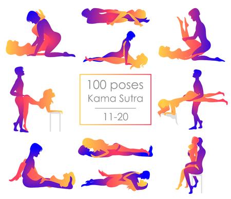 Ilustración de Set ten Kama Sutra positions. Man and woman on white background sex poses illustration. Hundred poses - Imagen libre de derechos