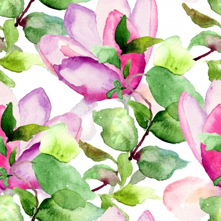 Seamless pattern with Magnolia watercolor illustration mural