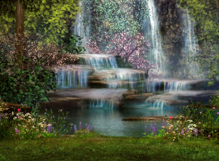 Photo for a magical landscape with waterfalls, flowers and trees - Royalty Free Image
