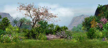 Foto de a magical landscape with cherry tree, flowers and trees - Imagen libre de derechos