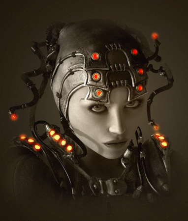 Foto de 3D computer graphics of a young woman with clothing and headdress in science fiction style - Imagen libre de derechos