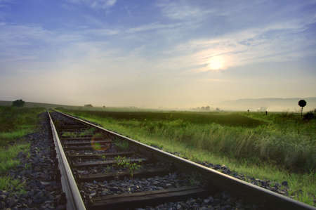 Railway tracks in the middle of nowhere  HDR