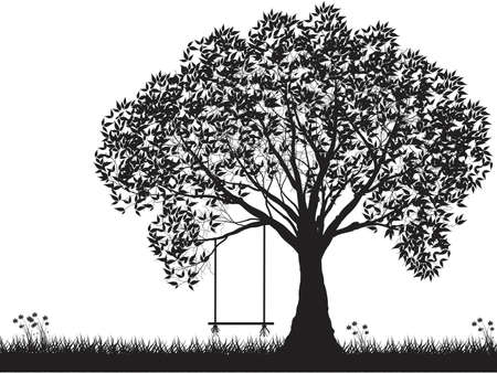 Illustration pour Vector tree silhouette, flowers and grass, black and white vectorial shape, - image libre de droit