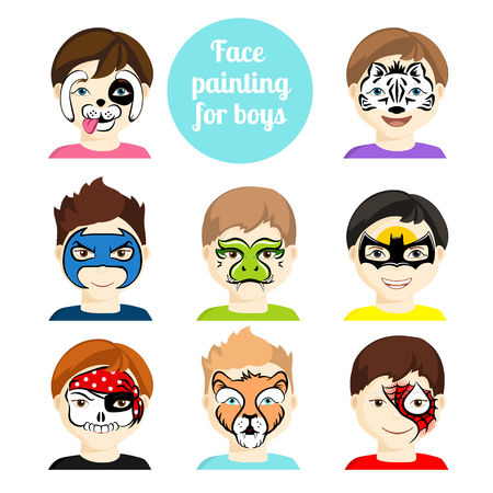 Ilustración de Face painting icons. Kids faces with animals and heroes painting. Vector illustration. Set of face painting for boys. Flat style cartoon vector illustration isolated on white. Cartoon characters. - Imagen libre de derechos