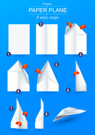 Illustration pour Instructions how to make a origami paper plane in 6 easy steps - image libre de droit