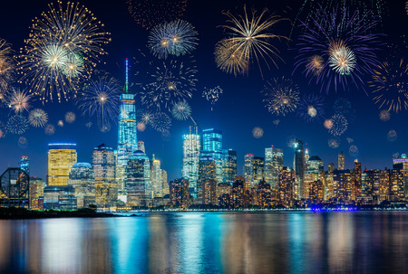Foto de Fireworks During New Years Eve with New York City Cityscape, USA - Imagen libre de derechos