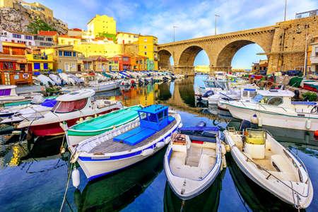 Foto de Small fishing harbor Vallon des Auffes with traditional picturesque houses and boats, Marseilles, France - Imagen libre de derechos
