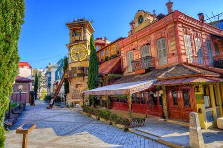 Foto de The old town of Tbilisi, Georgia, with the fairy tale Clock Tower of puppet theater Rezo Gabriadze - Imagen libre de derechos