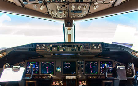 Photo for Detail of Cockpit controls inflight of a commercial airliner - Royalty Free Image