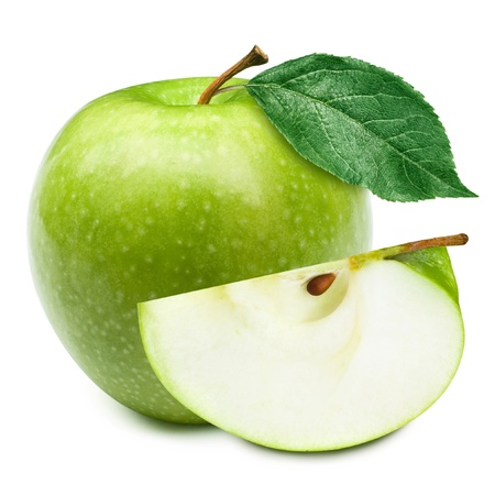 Photo for Green apples and half of apple Isolated on a white background - Royalty Free Image