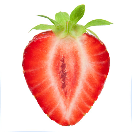 Foto de Half of strawberry isolated on white background - Imagen libre de derechos