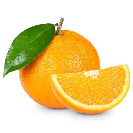 Photo for Orange fruit sliced isolated on white background - Royalty Free Image