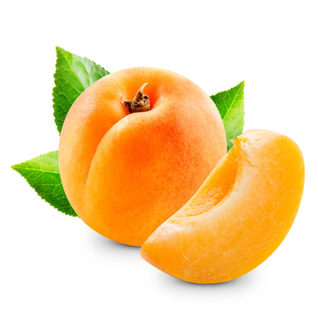 Photo for Apricot fruits with leaves isolated - Royalty Free Image