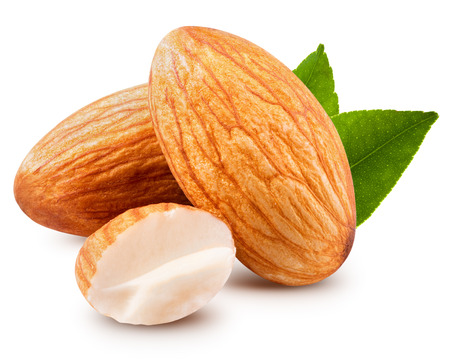 Photo for tasty almonds nuts isolated on white background - Royalty Free Image