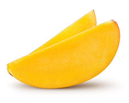 Foto de mango slice isolated on white background Clipping Path - Imagen libre de derechos