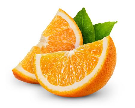 Photo pour orange fruit slice isolated on white background - image libre de droit