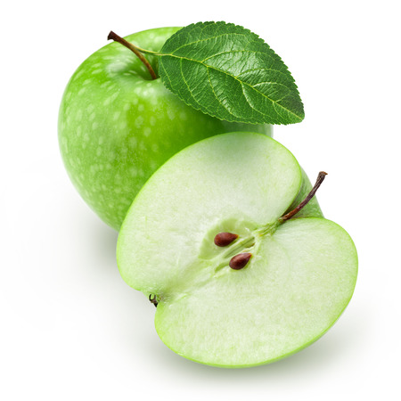 Photo for Green apple and half with leaf isolated on white background - Royalty Free Image