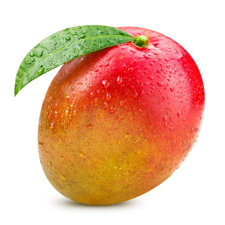Foto de Ripe mango isolated on white Clipping Path - Imagen libre de derechos