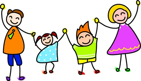 Photo for happy family hand drawn cartoon illustration - Royalty Free Image